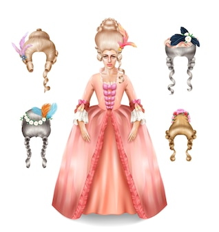 Elegant 18 century woman with rococo wigs collection styled with colorful feathers flowers realistic image illustration