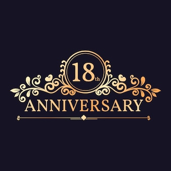 Elegant 18th anniversary logo design