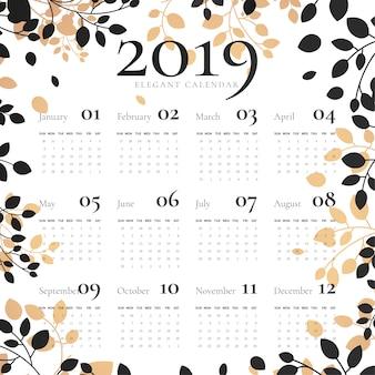 Elegant 2019 calendar with floral frame