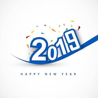 エレガントな2019幸せな新年のカラフルなカードデザイン