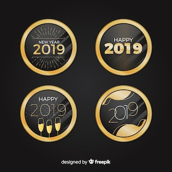 Elegant 2019 new year badge collection with vintage style