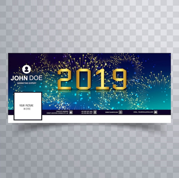 Elegant 2019 new year card facebook cover banner template