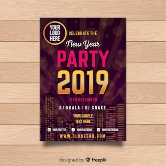 Elegant 2019 new year party poster with golden elements
