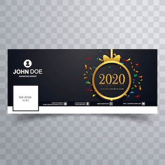 Elegant 2020 happy new year  cover template