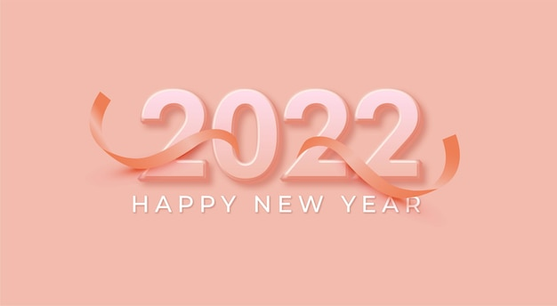 Elegant 2022 soft pink happy new year background