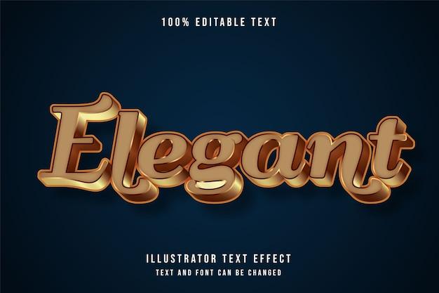 Элегантный, трехмерный редактируемый текстовый эффект желтой градации в стиле коричневого золота