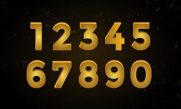 우아한 3d 황금 번호