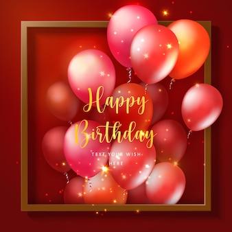 Elegant 3d realistic golden white ballon and square frame party popper ribbon happy birthday celebration card banner