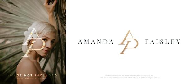 Элегантный дизайн логотипа буквы ap с монограммой и засечками