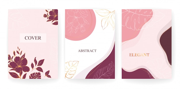 Elegant abstract background. gold line floral and shapes card template. flowers background for wedding,