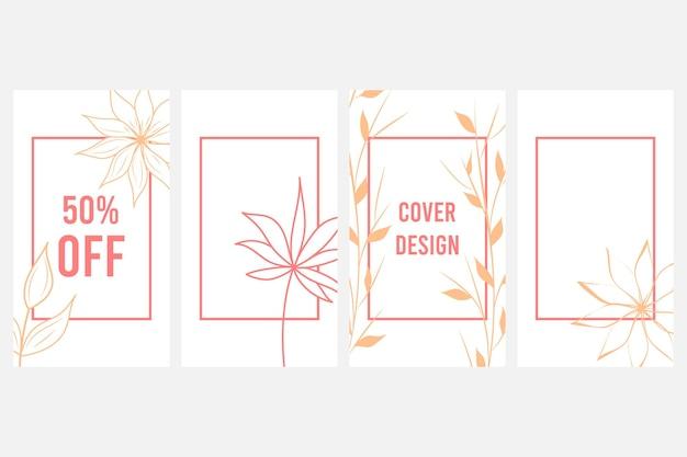 우아한 추상적인 배경입니다. 소셜 미디어 배너 템플릿입니다. 식물 벡터 집합입니다. 추상적인 모양으로 꽃 그림입니다. 식물 예술 디자인. 벡터 일러스트 레이 션.