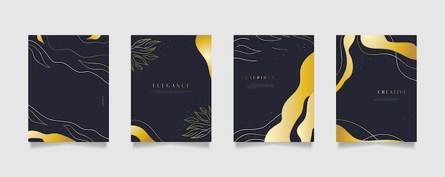 Elegant abstract background templates with golden flower illustration, suitable for wall decoration, wallpaper, cover, invitation, banner, brochure, poster, or card