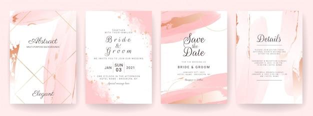 エレガントな抽象的な背景。結婚式の招待カードテンプレートは、水彩のスプラッシュと金の装飾を設定します。ブラシストロークデザイン
