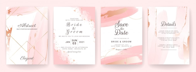 Elegant abstract background. wedding invitation card template set with watercolor splash and gold decoration. brush stroke design