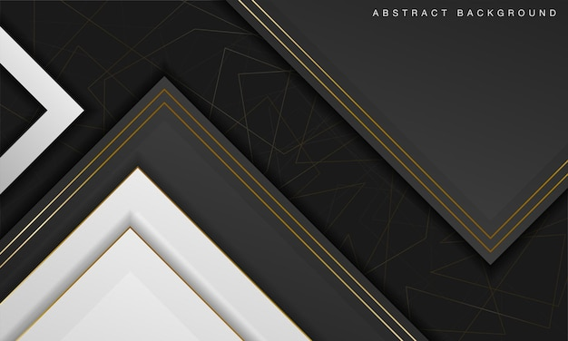 Elegant abstract black and white background with line golden elements realistic luxury 3d concept