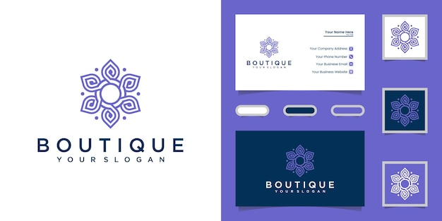 Elegant abstract flowers for logo and business card