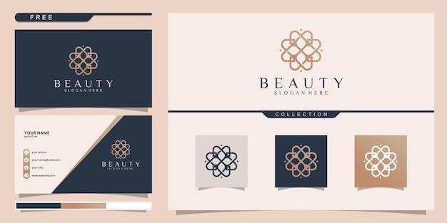 아름다움, 요가 및 스파에 영감을주는 우아한 추상적 인 꽃. 로고 디자인 및 명함