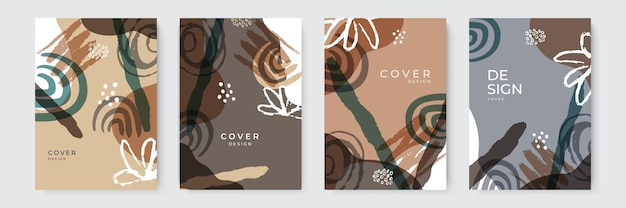 Elegant abstract organic trendy universal background templates. minimalist aesthetic. organic shapes compositions set. hand draw abstract design elements in pastel colors.