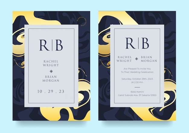 Elegant abstract wedding invitation card template in blue and yellow colors