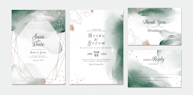 Elegant abstract wedding invitation card template set with watercolor splash and gold geometric frame.