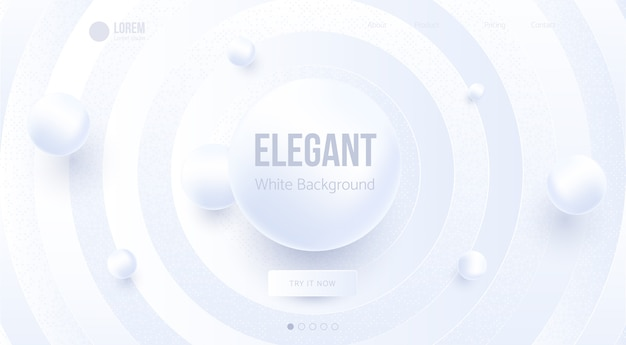 Elegant abstract white background design. landing page template.
