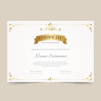 Modello di certificato di successo elegante