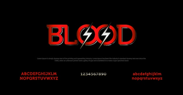 Elegant alphabet font and typography with blood letter
