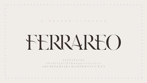 エレガントなアルファベットの古典的なフォント。クラシックモダンセリフレタリングミニマル