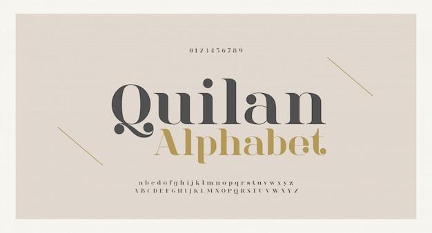 우아한 알파벳 문자 글꼴 및 숫자입니다. 클래식 구리 글자 최소한의 패션 디자인. 타이포그래피 글꼴은 일반 대문자와 소문자입니다. 프리미엄 벡터