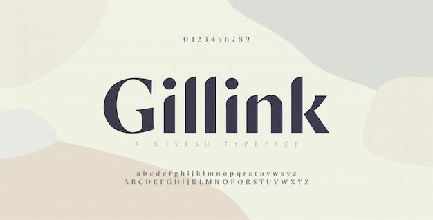 우아한 알파벳 문자 글꼴 및 숫자입니다. 클래식 구리 글자 최소한의 패션 디자인. 타이포그래피 글꼴은 일반 대문자와 소문자입니다.