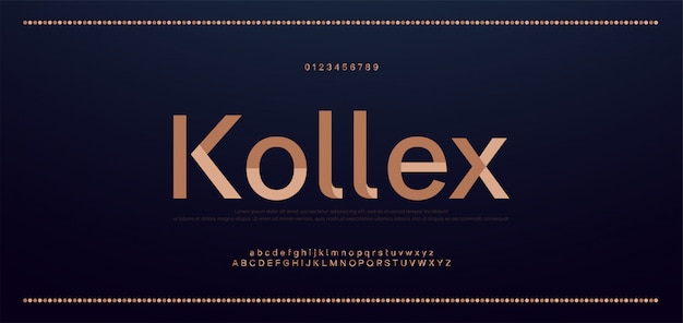 우아한 알파벳 문자 글꼴 및 숫자입니다. 클래식 구리 글자 최소한의 패션 디자인. 타이포그래피 글꼴 일반 대문자 및 소문자