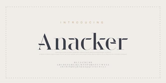 エレガントなアルファベットのフォントと数字。古典的な銅のレタリングの最小限のファッション