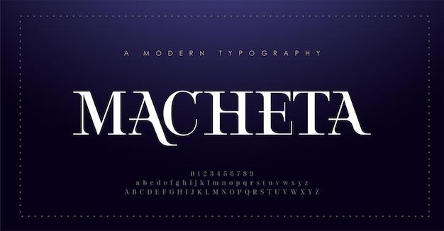 エレガントなアルファベットのフォントと数字。クラシックなレタリングの最小限のファッションデザイン。タイポグラフィのモダンなセリフフォント