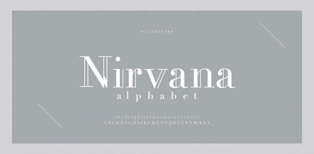 Элегантный шрифт букв алфавита и номер. классическая надпись minimal fashion designs. типографские шрифты имеют номера с засечками в верхнем и нижнем регистре.