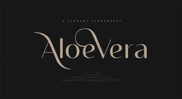 Элегантный шрифт букв алфавита и номер. классические надписи минималистичный дизайн моды. типография современные шрифты с засечками регулярная декоративная винтажная концепция. векторная иллюстрация