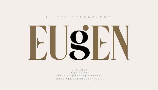 Элегантный шрифт букв алфавита и номер. классические надписи минималистичный дизайн моды. типография современные шрифты с засечками регулярные декоративные винтажные ретро концепции. векторная иллюстрация