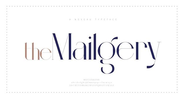 Элегантный шрифт букв алфавита и номер классические городские надписи минимальные модные типографические шрифты