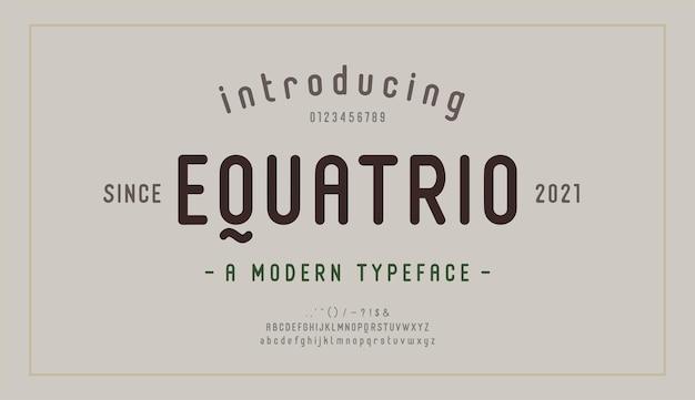 Элегантный шрифт букв алфавита и номер. современные надписи минималистичный дизайн моды. типография современные шрифты с засечками декоративная ретро винтажная концепция. векторная иллюстрация