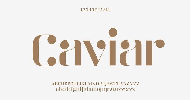 우아한 알파벳 문자 글꼴입니다. 고전적인 현대 세리프 레터링 최소한의 패션