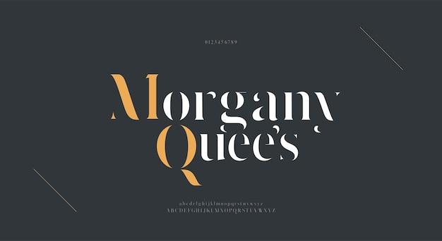 Элегантный шрифт букв алфавита. классический современный минималистичный стиль надписи с засечками