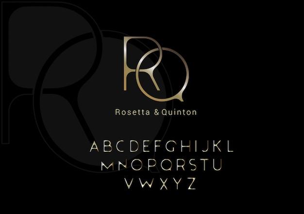 Elegant alphabet letters font set. modern custom lettering design