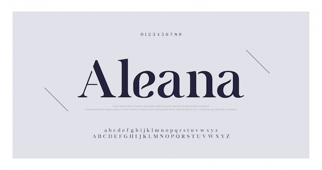 Elegant alphabet letters serif font and number set