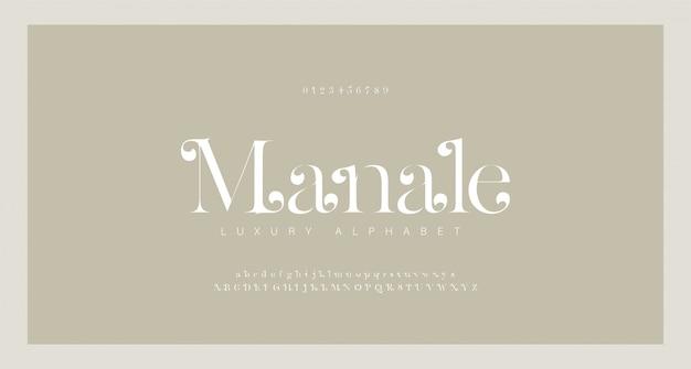 Elegant alphabet letters serif font and number