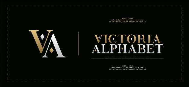 Elegant alphabet letters serif font and number