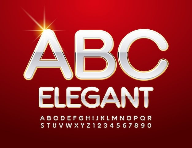 エレガントなアルファベット。光沢のある白とゴールドのフォント。スタイリッシュなエリートの文字と数字のセット