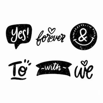 Элегантные амперсанды и лозунги для свадебного набора Бесплатные векторы