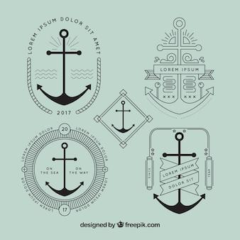 Elegant anchor badge set