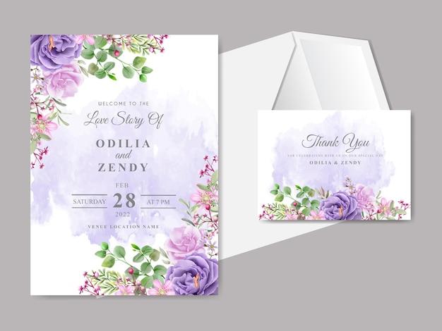 우아하고 아름다운 꽃 결혼식 초대 카드 템플릿