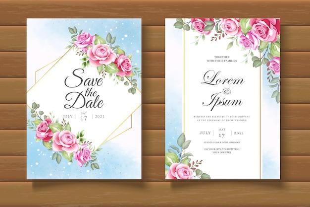 Элегантный и красивый цветочный свадебный пригласительный билет