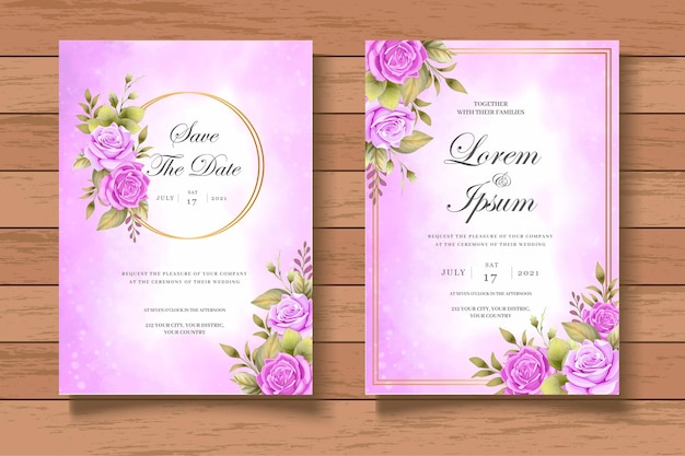 Элегантный и красивый цветочный шаблон свадебного приглашения